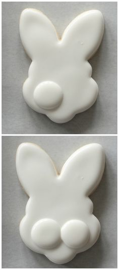 Use of flood icing for big round dot; wait then add second dot. Then add pink nose & ears. Then eyes Fancy Cookies, Valentine Cookies, Iced Cookies, Easter Cookies, Royal Icing Cookies, Holiday Cookies, Cupcake Cookies, Sugar Cookies, Cookie Favors