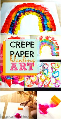 You'll only need some crepe paper, watercolor paper and water to create this amazing and fun crepe paper bleeding art with your kids! #processart #crepepaperart #kidsart