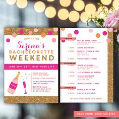 Image Result For Bachelorette Itinerary Template Pine Roses - Party invitation template: bachelorette party itinerary template
