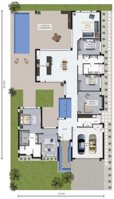New Ideas For House Layout Courtyard Floor Plans House Layout Plans, New House Plans, Dream House Plans, Modern House Plans, House Layouts, Modern House Design, House Floor Plans, Australia House, Courtyard House Plans
