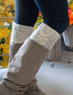 Ben Franklin Crafts and Frame Shop, Monroe, WA: How to: Cable Knit Boot Cuffs, worsted wt yarn Knitted Boot Cuffs, Crochet Boots, Knit Boots, Knit Or Crochet, Cable Knitting, Knitting Socks, Knitting Projects, Knitting Patterns, Boot Toppers