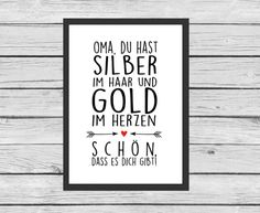 Typo für Oma und Opas / art print for granny and grandpa by Kitsch'n Story via…