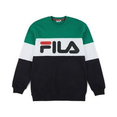 Fila - Straight Blocked Crewneck, Black/Bright White/Shady Glade 1 Fila Outfit, Shirt Outfit, T Shirt, Swag Outfits, Kids Outfits, Cool Outfits, Best Hoodies For Men, Fila Vintage, Sweater Hoodie
