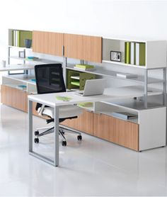 Just ordered a set up similar to this for our showroom! Excited to get it in. HON's Voi Laminate Desking www.hon.com.
