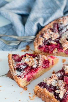 Rhubarb & Raspberry Tart with Almond Praline
