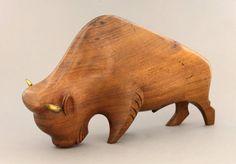 Lazlo hoenig carved wooden bison