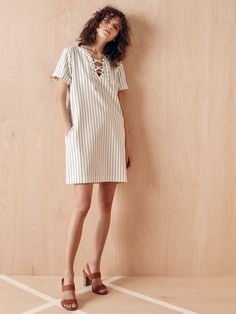 madewell harbor lace-up dress worn with the mayla sandal.