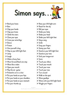 Simon says. Printable ideas for playing Simon Says. Great for Brain Breaks Preschool Songs, Preschool Learning, Kids Songs, Learning Activities, Physical Activities For Kids, Kindergarten Songs, Preschool Movement Songs, Songs For Preschoolers, Baby Activities
