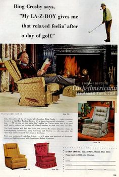 See how Bing Crosby's La-Z-Boy recliner gave him that relaxed feelin' - Click Americana Lazy Boy Chair, Lazy Boy Recliner, Hollywood Walk Of Fame, Old Hollywood, Early American Furniture, Movies Box, Bing Crosby, La Z Boy, Media Images