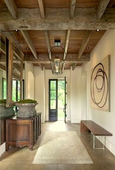 Driscoll Design Group - entrances/foyers - wood beams, exposed wood beams, exposed beams ceiling, exposed wood beams ceiling, rustic wood be. Modern Rustic, Modern Farmhouse, Modern Bench, Rustic Wood, Rustic Chic, Rustic Contemporary, Modern Decor, Modern Country, Rustic Style