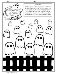 FREE Halloween themed articulation activity- Growing Ghosts