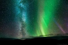 THE AURORA BOREALIS, THE MILKY WAY AND A METEOR    Tommy Eliassen of Tommy Eliassen Photography captured this striking image of the Northern Lights and the Milky Way, as well as a meteor streaking through the sky above Ifjord, Finnmark, Norway on September 25, 2011.