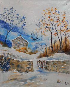 tableau paysage la petite maison dans la montagne peintures axelle bosler axelle bosler. Black Bedroom Furniture Sets. Home Design Ideas