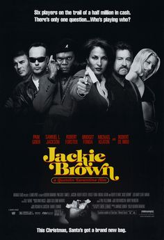 Jackie Brown movie poster //  The basis of the Jackie Brown logo is ITC Tiffany. Swashes inspired by Caslon Swash (Arriola), Cabernet, Benguiat Caslon.