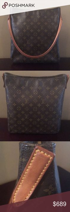 Authentic Louis Vuitton Looping GM Bag Louis Vuitton Looping GM Handbag. Classic monogram canvas. See add'l photos on 2nd listing in my closet prior to purchase. Est. meas: 11 L x 4W x 12 H. Date Code: MI0060. Natural leather swiveling arc handle. Single zip closure. Overall good condition w/ wear normal for age of Bag. Beige alcantara lining-a few minor stains/marks. Goldtone hardware has very light surface scratches/discoloration from age. Canvas minor wear. Ask questions-see ALL 16 photos…