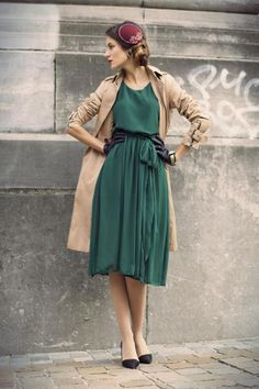 Perfectly pretty dress. Emerald vintage style modest dress, trench coat, vintage hat, perfect leather gloves