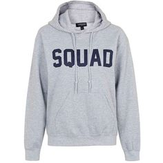 Topshop 'Squad' Pullover Hoodie (225 PLN) ❤ liked on Polyvore featuring tops, hoodies, pullover hooded sweatshirt, hoodie pullover, topshop tops, sweater pullover and drawstring hoodie