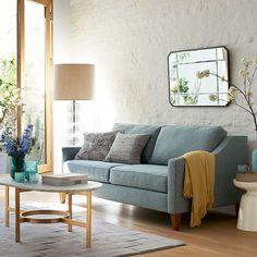 "Paidge 72.5"" Sofa, Poly, Linen Weave, Blue Stone, Cone Chocolate"