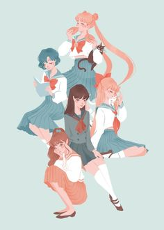 Sailor Moon and Sailor Scouts Arte Sailor Moon, Sailor Moon Fan Art, Sailor Jupiter, Sailor Venus, Sailor Mars, Sailor Moon Crystal, Sailor Scouts, Manga Anime, Fanarts Anime