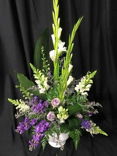 colors are nice, and this looks the most like a typical altar arrangement. Funeral Floral Arrangements, Tropical Floral Arrangements, Creative Flower Arrangements, Ikebana Flower Arrangement, Church Flower Arrangements, Beautiful Flower Arrangements, Flower Vases, Beautiful Flowers, Flower Spray