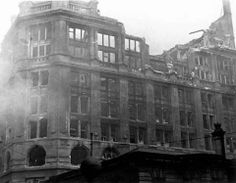 Lewis' store gutted by fire in Liverpool during the 1940s.