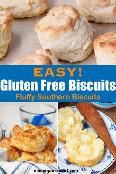 Gluten Free Biscuits - Fluffy Gluten Free Biscuits recipe taste so amazing, no one even suspects they are gluten free! Healthy Low Carb Recipes, Gf Recipes, Dinner Recipes, Gluten Free Recipes Videos, Breakfast Recipes, Dessert Recipes, Breakfast Biscuits, Breakfast Ideas, Healthy Eats