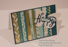 Stampin' Up! Eastern Palace DSP, scraps, Happy Birthday die, Bold Butterfly Framelits
