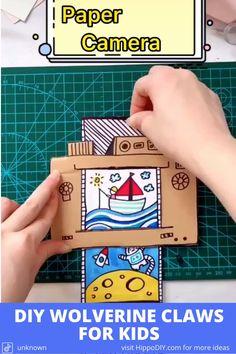 Paper Crafts For Kids, Cardboard Crafts, Preschool Crafts, Diy For Kids, Fun Crafts, Paper Camera, Camera Crafts, Paper Toy, Activities For Kids