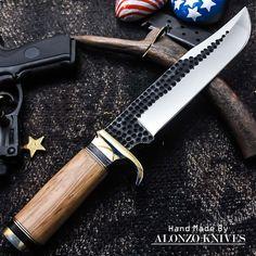 ALONZO KNIVES USA CUSTOM HANDMADE TACTICAL BOWIE 1095 KNIFE BURL WOOD 1258 #AlonzoKnives