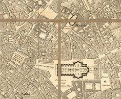 Giuseppe Brenna, mappa della zona di piazza Duomo pre 1860.