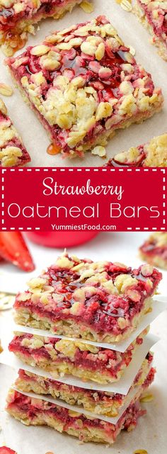 The best way to start your day - Healthy Breakfast Strawberry Oatmeal Bars