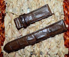 GENUINE brown ALLIGATOR, CROCODILE LEATHER SKIN WATCH STRAP BAND 22mm