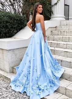 Sweetheart Sky Blue Long Prom Dresses with Floral Applique – SheerG. - Sweetheart Sky Blue Long Prom Dresses with Floral Applique – SheerGirl Source by - Prom Dresses With Pockets, Pretty Prom Dresses, Simple Prom Dress, Prom Dresses Blue, Cheap Prom Dresses, Dance Dresses, Elegant Dresses, Beautiful Dresses, Wedding Dresses