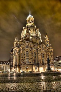 Dresden Frauenkirche, Germany, bombed in WWII, and rebuilt using as much of the original stones as possible.