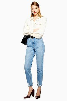 03ffe25f7b4 Womens Bleach Ripped Hem Mom Jeans - Bleach Stone