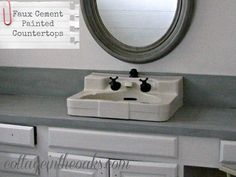 faux cement painted counters