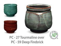 AMACO Potter's Choice layered glazes PC-59 Deep Firebrick and PC-27 Tourmaline.