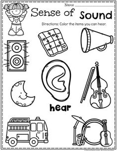 Preschool 5 Senses Worksheet - Sense of Hearing Do you teach a 5 Senses theme? Kids will get to learn about and sort the different senses as well as try tasting, listening, feeling and smelling. Five Senses Kindergarten, Five Senses Preschool, 5 Senses Activities, My Five Senses, Body Preschool, Preschool Learning Activities, Preschool Curriculum, Preschool Science, Preschool Lessons