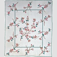"""Apple Blossom Quilt Ladies Aide [sic] Society of the Methodist Church Location: Hoag's Corner, New York, United States Date: 1939–1945 Materials: Cotton with cotton embroidery Dimensions: 92 × 78"""""""