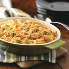 Green Bean Chicken Casserole Recipe -My husband, who claims to be strictly a meat-and-potatoes man, asked for seconds the first time I threw together this comforting all-in-one meal. My daughter and several guests raved about it, too. It's easy to assemble with cooked chicken, frozen green beans and convenient pantry items. —DeLissa Mingee Warr Acres, Oklahoma