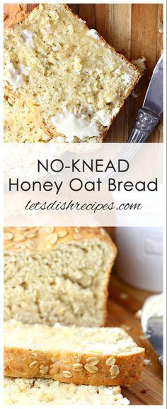 Oat Bread Recipe, Honey Oat Bread, Yeast Bread Recipes, Bread Machine Recipes, Cornbread Recipes, Jiffy Cornbread, No Knead Bagel Recipe, Easy Honey Wheat Bread Recipe, Heavy Bread Recipe