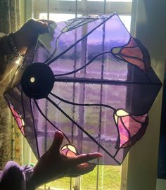 Stained Glass Lampshade purple flowers