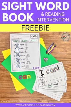 This FREE sight word book focuses on the sight word 'can'. Each page has the same sentence pattern making it predictable, giving students confidence, teaching them to use the pictures to help them read unknown words, and also helping your learner become an early reader! There is a follow up activity that has all the sentences on one page. Students trace the sight word, read the sentences, and find the focus sight word in each sentence.