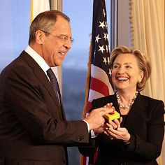 Hillary Clinton's reset button with Russia being pressed by Sergei Lavrov ---The infamous Clinton reset button for US-Russian relations turned out this week to be the other proverbial red button used to launch nuclear missiles. Wikileaks documents that will be covered in this series of articles reveal a chain of wars that started due to Hillary Clinton's diplomacy. read more