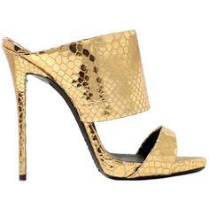 GIUSEPPE ZANOTTI 130mm Python Printed Leather Sandals - Gold