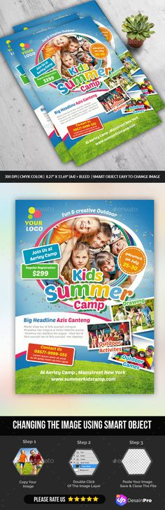 Kids Summer Camp Flyer  Camping Flyer Template And Print Templates