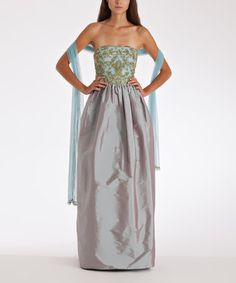 Take a look at this Aqua Beaded Taffeta Silk-Blend Dress & Stole by JS Collections on #zulily today!