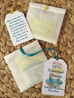 International Convention 2014, Rutherford, NJ. Will be helping the older and infirmed Bethelites. Made these as a little gift for them with a tea bag inside to enjoy later.