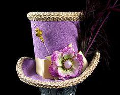 Lavender and Toffee Velvet Flower and Plume Mini Top Hat Fascinator, Alice in Wonderland, Mad Hatter Tea Party, Derby Hat
