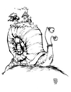 House on Shell Mount. Every comic i've inked in the last years has been inked with a brush pen. it's quick, and easy to use. It's been great teaching me how to control the moves a brush. But in the second issue of Rocket Raccoon, my. Cartoon Sketches, Drawing Sketches, Art Drawings, Character Sketches, Character Art, Character Design, Snail Art, Pen Illustration, Young Art